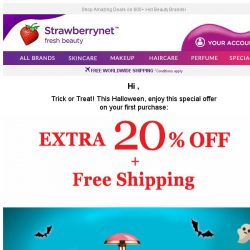 [StrawberryNet] 🎃 Boo! Have a Halloween Treat: 20% Off +FREE Shipping