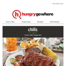 [HungryGoWhere] 1 for 1 Mains at Chili's - Savour 2 for the price of 1 on your favourite American dishes, available daily