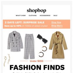 [Shopbop] Surprise sale is still on + Our latest covetable picks—all under $200!