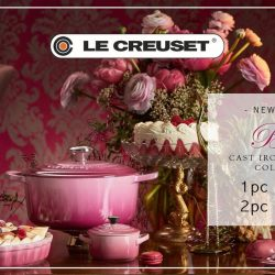 Le Creuset: Enjoy Up to 50% OFF the NEW Berry Cast Iron Cookware Collection & Stoneware in Rose Quartz at Takashimaya