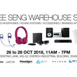 Hwee Seng: Warehouse Sale 2018 with Up to 90% OFF Top Brand Headphones, Sound Systems, Accessories & Branded Appliances