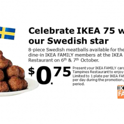 IKEA Tampines: Enjoy 8-pc Swedish Meatballs for only $0.75 on 6th & 7th October 2018!