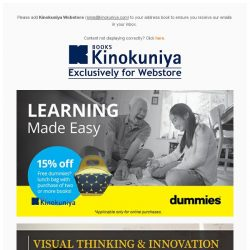 [Books Kinokuniya] Learning Made Easy with 15% discount off, exclusively on Kinokuniya Webstore Singapore.  Shop NOW to get your gifts in time for Christmas! 
