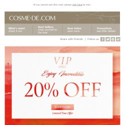 [COSME-DE.com]  ,💥 Incredible 20% OFF VIP offer! 💥