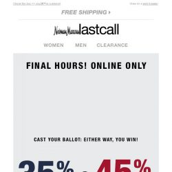 [Last Call] Final hours: vote your choice of savings now!