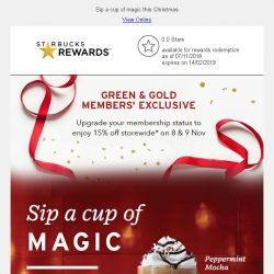 [Starbucks] Upgrade your membership status to enjoy 15% off storewide