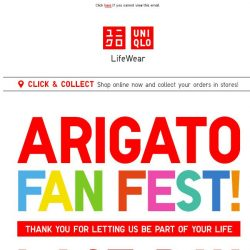 [UNIQLO Singapore] Last day to enjoy Arigato Prices from 9.90, shop now!