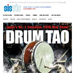 [SISTIC] Japan's No.1 Sensation, Drum Tao returns with the most spectacular production! Save 15%!