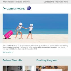 [Cathay Pacific Airways] Get ready for our 11.11 sale from SGD228 all-in