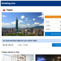 [Booking.com] Deals in Taipei from S$ 103