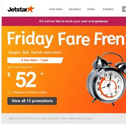 [Jetstar] 🕗 15 hours only! Year-end holiday deals to Yangon, Darwin and more.