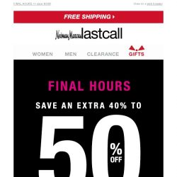 [Last Call] EARLY BLACK FRIDAY DEALS ENDING: extra 40%–50% off shoes, bags, & jewelry