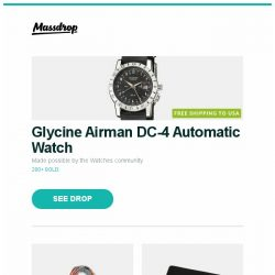 [Massdrop] Glycine Airman DC-4 Automatic Watch, Royal Speyside Cashmere Scarves, Seki Edge 2-Piece Grooming Kit and more...
