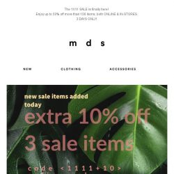 [MDS] MDS SALE | +10% OFF 3 SALE ITEMS | CODE