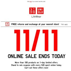 [UNIQLO Singapore] Hurry! Few hours left for these 11/11 deals!