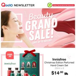 [Qoo10] Beauty Grand Sale! $14.90 Innisfree X'mas Gift Set | $6.90 Borjouis Lip Crayon | Free Shipping!
