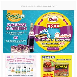[Giant] ⚠️ HURRY! HAVE FUN with Ribena at 🌊WIld Wild Wet or 🎳 Orchid Bowl!