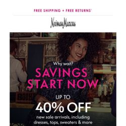 [Neiman Marcus] 40% off: First-time markdowns on wear-now looks!