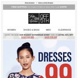 [Saks OFF 5th] Your Cole Haan item is waiting! + Dresses under $99? Sign us up.