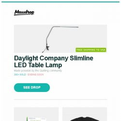 [Massdrop] Daylight Company Slimline LED Table Lamp, EQ8 Quilting Software, Fifth Sun NASA Shirts and more...