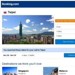 [Booking.com] Deals in Taipei from S$ 24