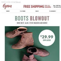 [6pm] Boots Blowout $29.99 or Less (& Free Shipping)!