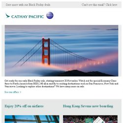 [Cathay Pacific Airways] Early Black Friday sale starts tomorrow