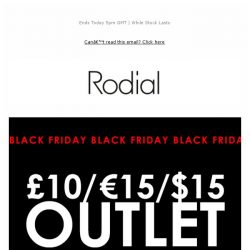 [RODIAL] Only A Few Hours Left - £10 Outlet 🔥