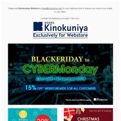 [Books Kinokuniya]  Enjoy 15% off Webstorewide this Black Friday to CyberMonday, exclusively on Kinokuniya Webstore Singapore!  Shop NOW!