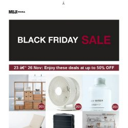 [Muji] MUJI: Enjoy up to 50% OFF this Black Friday!