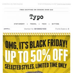 [typo] Shop Black Friday, up to 50% off!