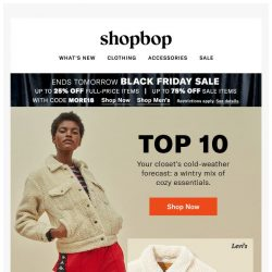 [Shopbop] Black Friday sale is on + It's a winter (closet) wonderland
