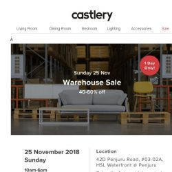 [Castlery] It's Today. Warehouse Sale 40-60% off!