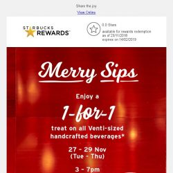 [Starbucks] A merry 1-for-1 treat is coming