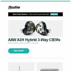 [Massdrop] AAW A3H Hybrid 3-Way CIEMs, Aurora Alpha Fountain Pen, BM-16A 16-Key Programmable Mini Pad Kit and more...