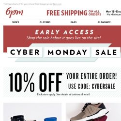 [6pm] Cyber Monday Sale: Coupon + Up to 70% off 1000s of styles!