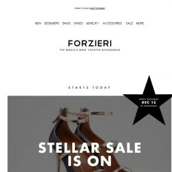 [Forzieri] Stellar SALE is On | 254+ Designers Now up to 60% Off