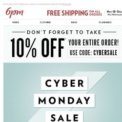 [6pm] 10% off Coupon + So. Many. Deals!