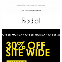 [RODIAL] Cyber Monday: 30% Off Everything 😍