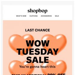 [Shopbop] LAST DAY! Additional 30% off all sale with code WOW18