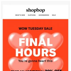 [Shopbop] FINAL HOURS! Get up to 30% off all sale with code WOW18