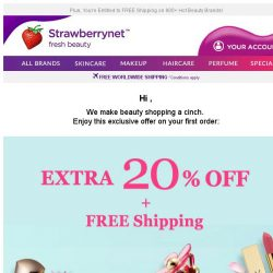 [StrawberryNet] , Extra 20% Off Sitewide on Your FIRST Order