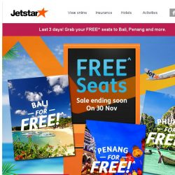[Jetstar] ✈ Last chance to grab FREE^ seats to Bali, Phuket and more! Book now.