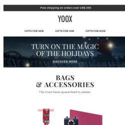 [Yoox] ✨ Bags & accessories: you simply can't go wrong with these gifts