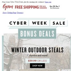 [6pm] $39.99 or Less Winter Outdoor Steals!