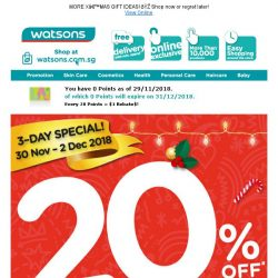[Watsons] 🎅🏻 Ho! Ho! Ho! 20% off storewide & online  + 6% Cash Rebates with POSB Everyday Card
