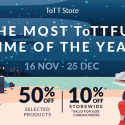 ToTT: Christmas Sale with Up to 50% OFF Selected Products & 10% OFF Storewide with UOB Cards