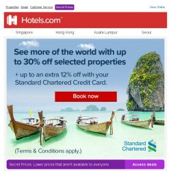 [Hotels.com] Up to 30% off on selected properties + up to 12% additional savings!