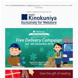 [Books Kinokuniya]  Enjoy *Free Delivery for limited period, exclusively on Kinokuniya Webstore Singapore!  Shop NOW!
