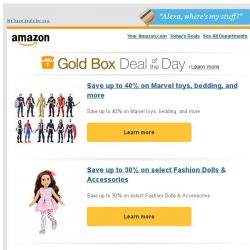 [Amazon] Save up to 40% on Marvel toys, bedding, and more
